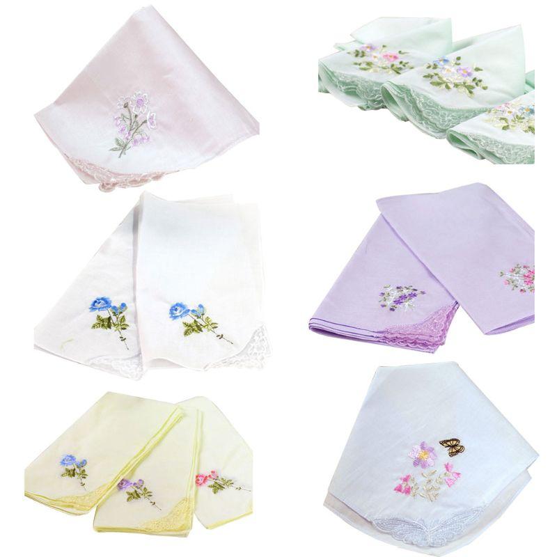 3 Teile/satz Frauen Platz Taschentuch Floral Gestickt Candy Farbe Tasche Hanky Spitze Patchwork Baumwolle Baby Lätzchen Tragbare Handtuch KöStlich Im Geschmack