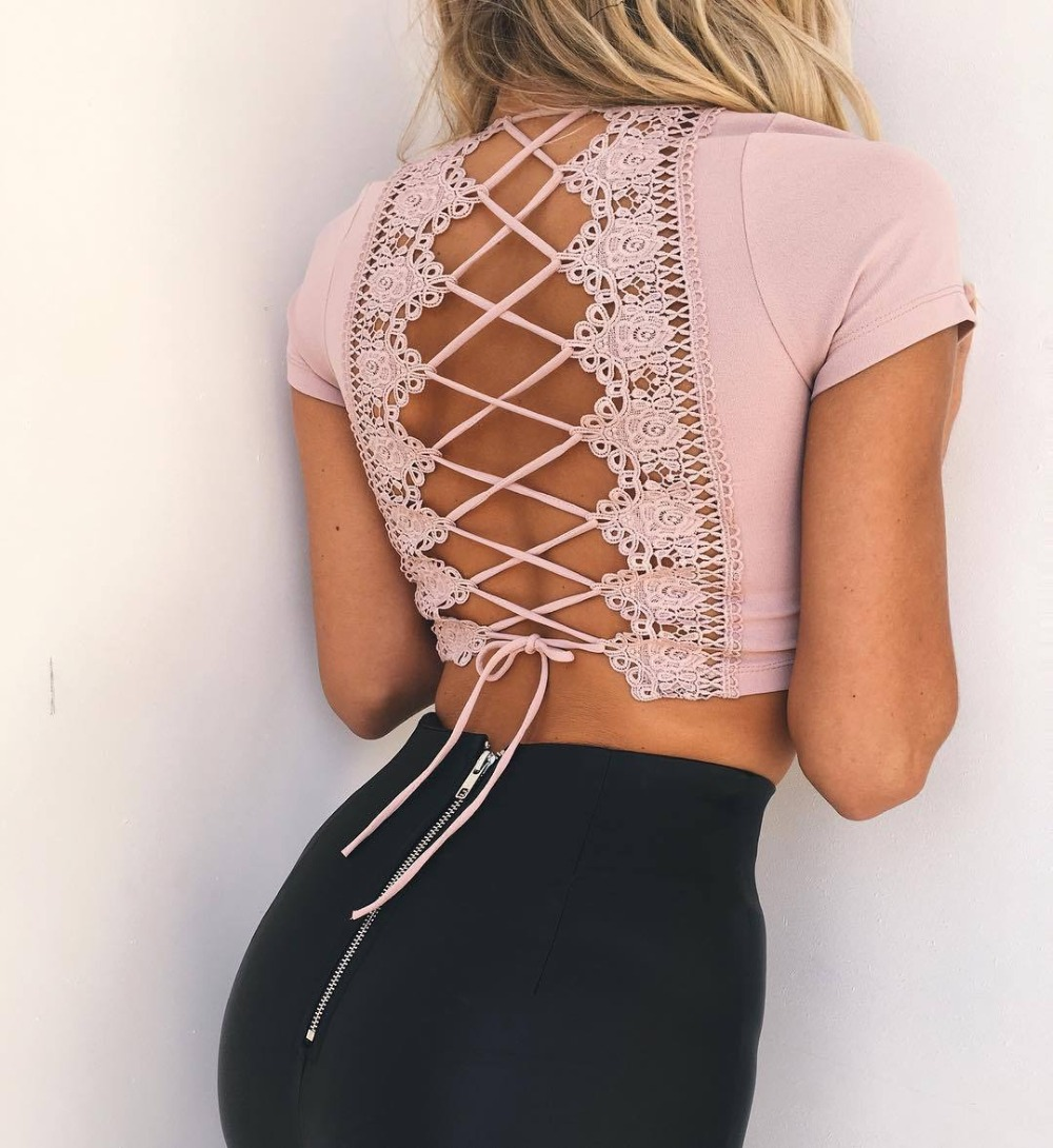 Lace Up Back Sexy T-shirt, Crisscross Fashion T- shirt, Summer Crop Top 8