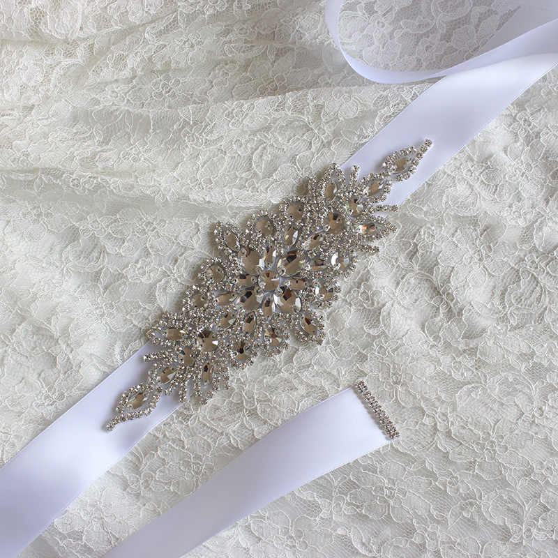 JaneVini Crystal Wedding Belts Satin Rhinestone Bridal Belt With Stones Wedding Dress Diament Belt Bride Ribbon Sash Waistband