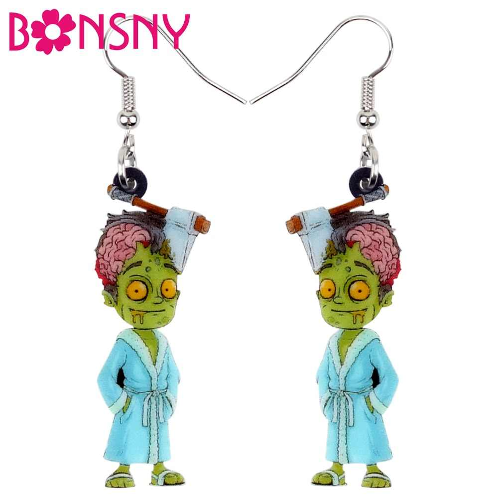 Bonsny Acrylic Halloween Horrible Bathrobe Zombie Earrings Drop Dangle New Fashion Party Jewelry For Women Girls Charms Bijoux