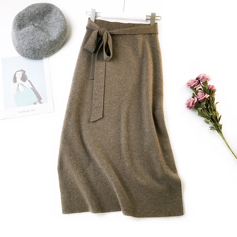 Image 3 - Autumn Winter Women Midi Long Sweater Skirt Elastic High Waist Tie Bow Knitted Skirts Female All Match Split A Line Skirt AB1271-in Skirts from Women's Clothing