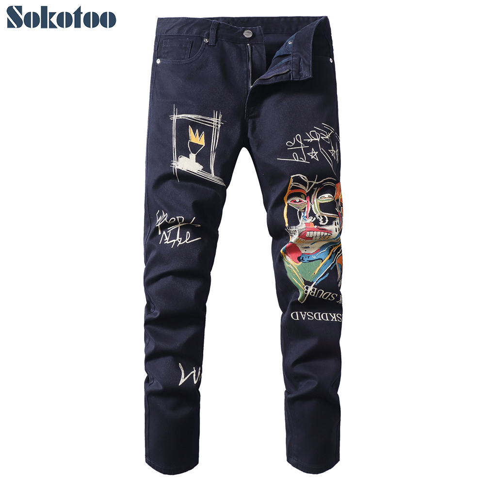 Sokotoo Men's Doodle Printed Jeans Slim Fit Straight Colored Drawing Painted Dark Navy Blue Pants
