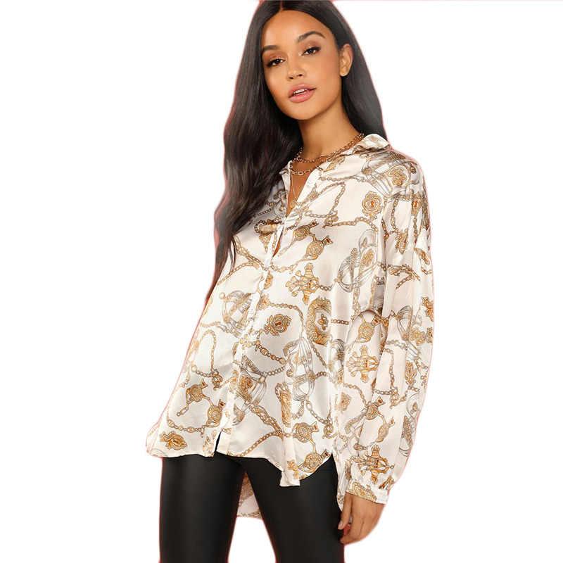 85e3ef470b825 SHEIN White Casual Chain Print Button Stand Collar Long Sleeve Satin Shirt  2018 Autumn Office Lady