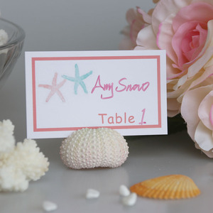 Free Shipping Super Lovely White Sea Urchin Place Card Hold for Beach Wedding Natural Shell Conch Reception Table Chic Decor