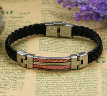316L Stainless Steel Leather Men Bracelets