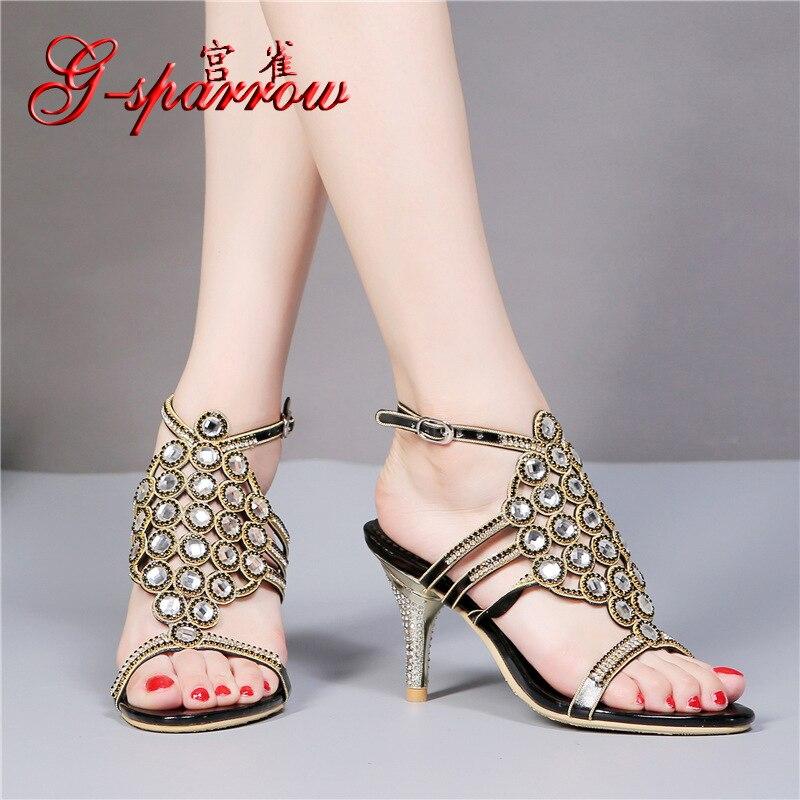 ФОТО 2016 Summer Style Fashion Sandal Ladies High Heel Sandals Open Toe Black Dress Crystal Diamond Wedding Shoes Size 11