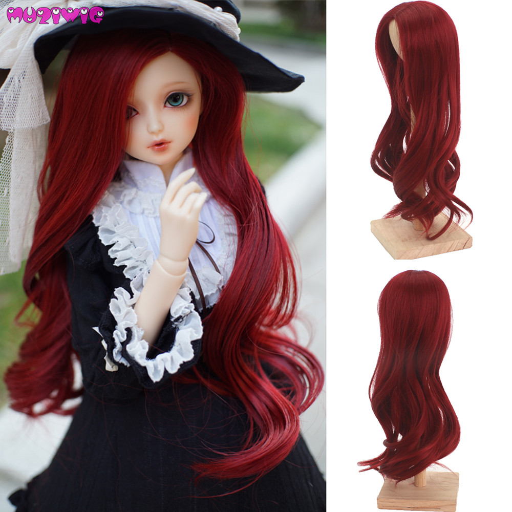 High Quality Red Wine Long Wave Hair Wigs for 1/8 BJD DollsHigh Quality Red Wine Long Wave Hair Wigs for 1/8 BJD Dolls