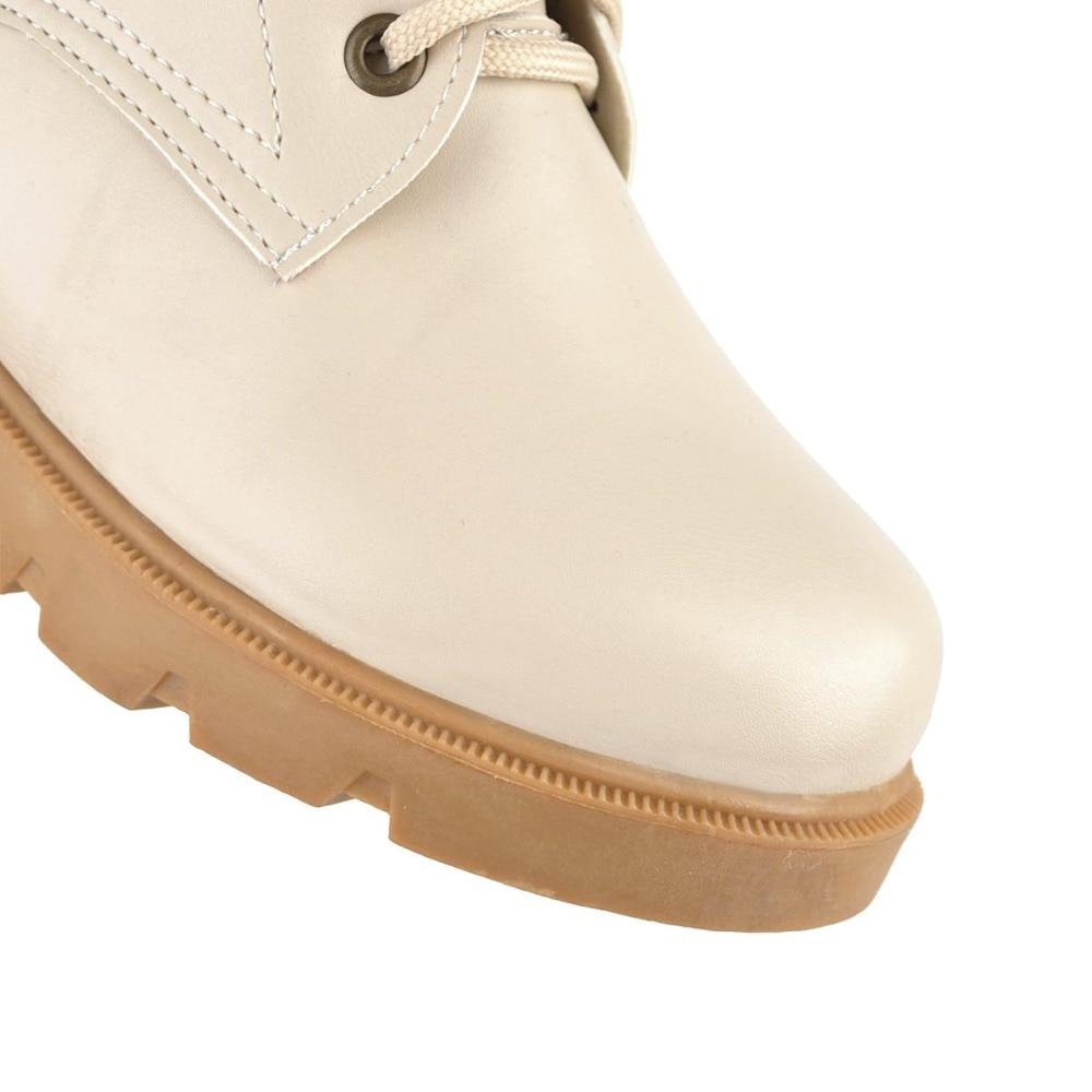 Pu blanc À Cuir Chaussures Taille 2018 Beige Femmes Punk Equestr Cheville Femme Équitation Lacets Bottes Automne Plus Printemps 43 La Hxw0zg8q