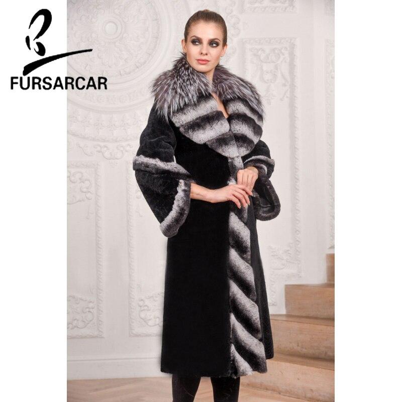 Fourrure Hiver Rex Mode Fursarcar Luxe Fox Naturel De Cm Manteau Pour Lapin Jacke 2018 Long Silver Femmes Noir Avec Col 100 vpp0W4A