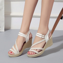 Women Female Wedge High Heels Open Toe Pumps Shoes Woman 4