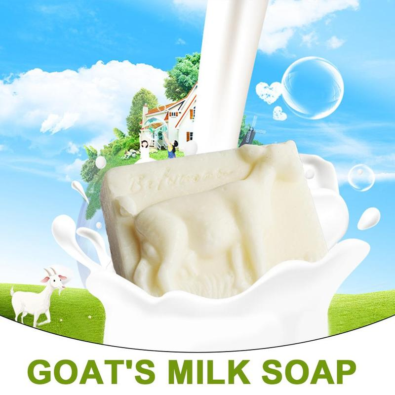 1pc Natural Goat Milk Handmade Soap Moisturizing Mites Facial Wash Cold Handmade Soap Sea Salt Blackhead Remover Goat Milk Soap