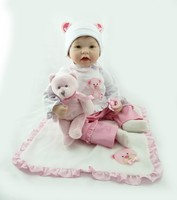 NPKCOLLECTION 55cm realistic lifelike reborn baby doll bebe reborn doll playing toys for kids Christmas Gift soft silicone dolls