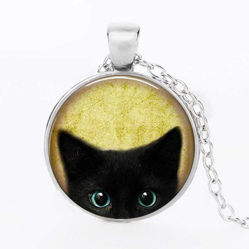 3 Màu Sắc Hợp Thời Trang Động Vật Mặt Dây Chuyền Vòng Cổ Mèo Tặng Kính Cabochon Mèo Đen Mề Đay Mặt Dây Chuyền Hợp Kim Collares Trang Sức