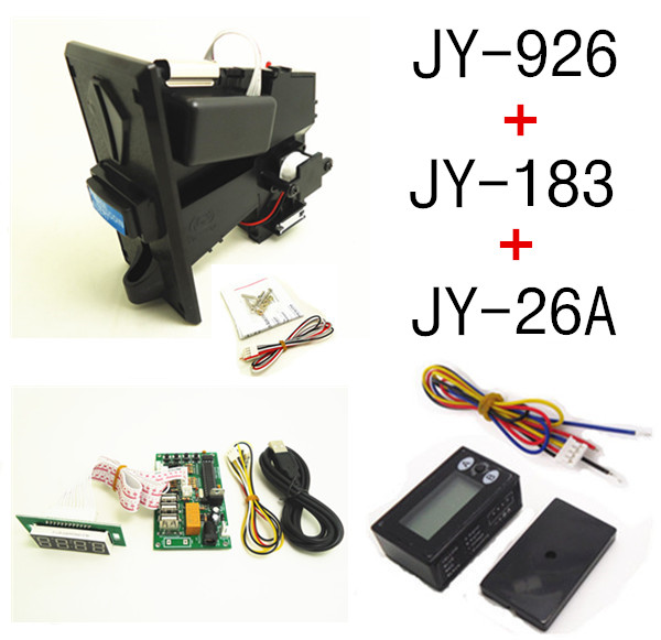 JY-926+JY-183+26A DIY coin operated time control device for USB deivces, multi coin selector with timer board and reset counter цифровая видеокамера jvc jy hm360e jy hm360e
