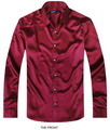 Wine red Luxury the groom shirt male long sleeve wedding shirt men's party Artificial silk dress shirt M-3XL 21 colors FZS18