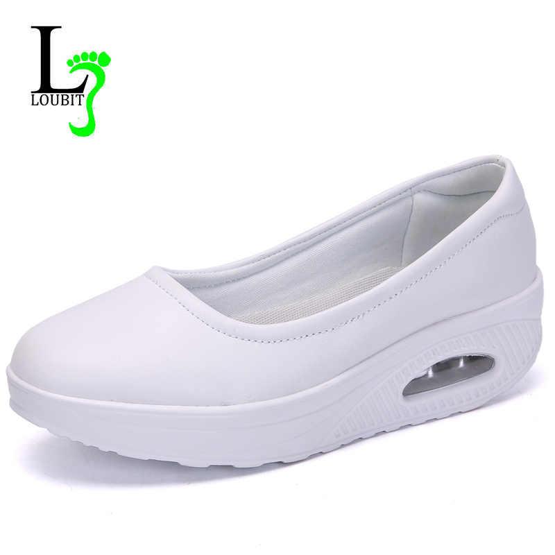 c1357effab7 Women Nurse Flats Shoes PU Leather Slip On Moccains Ladies Round Toe White  Loafers Flat Women