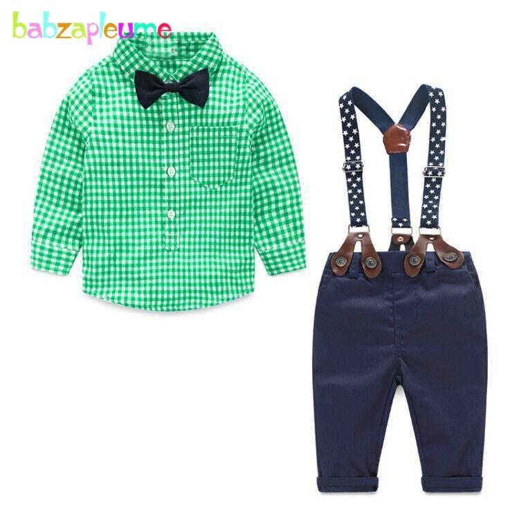 купить 2Piece/0-24Months/Spring Autumn Newborn Outfits Baby Boys Clothes Sets Casual Gentleman Plaid Shirt+Pants Infant Clothing BC1155 онлайн