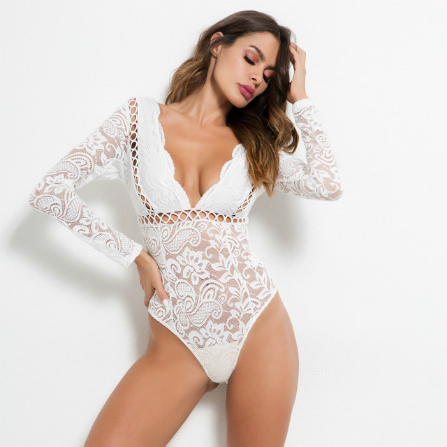 7bfb4a3bffa6 MUXU sexy white lace transparent long sleeve bodysuit wome rompers womens  jumpsuit macacao feminino backless sexy