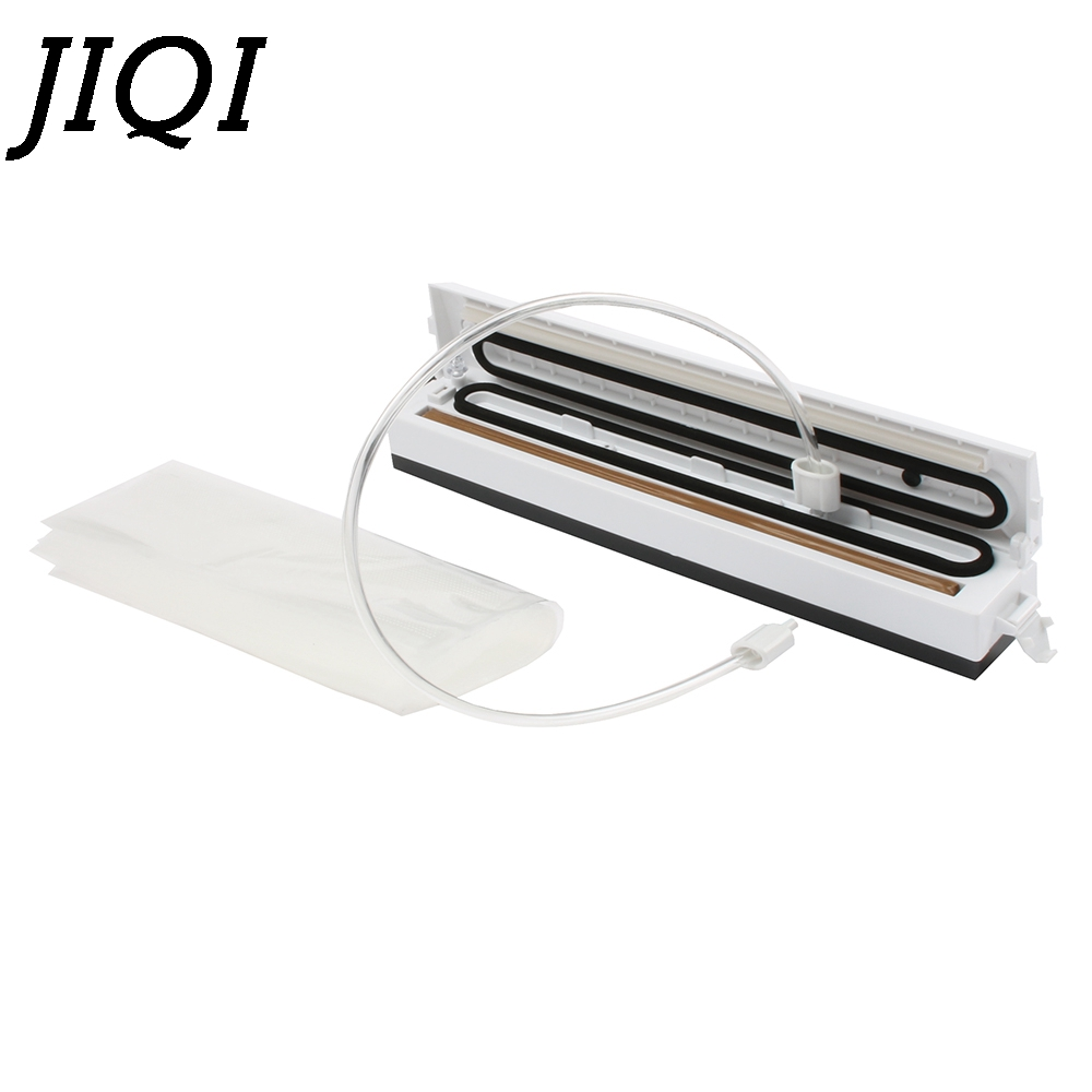 JIQI Food Vacuum Sealer 110V/220V Automatic Packing Compressor Mini Wet Dry Sealing Machine Packer With 10Pcs Plastic Bags Film