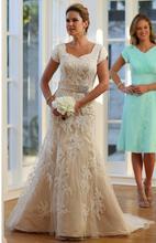 Vintage Champagne sirène robes de mariée modestes avec Cap manches dentelle Appliques Tulle boutons retour pays robes de mariée nouveau
