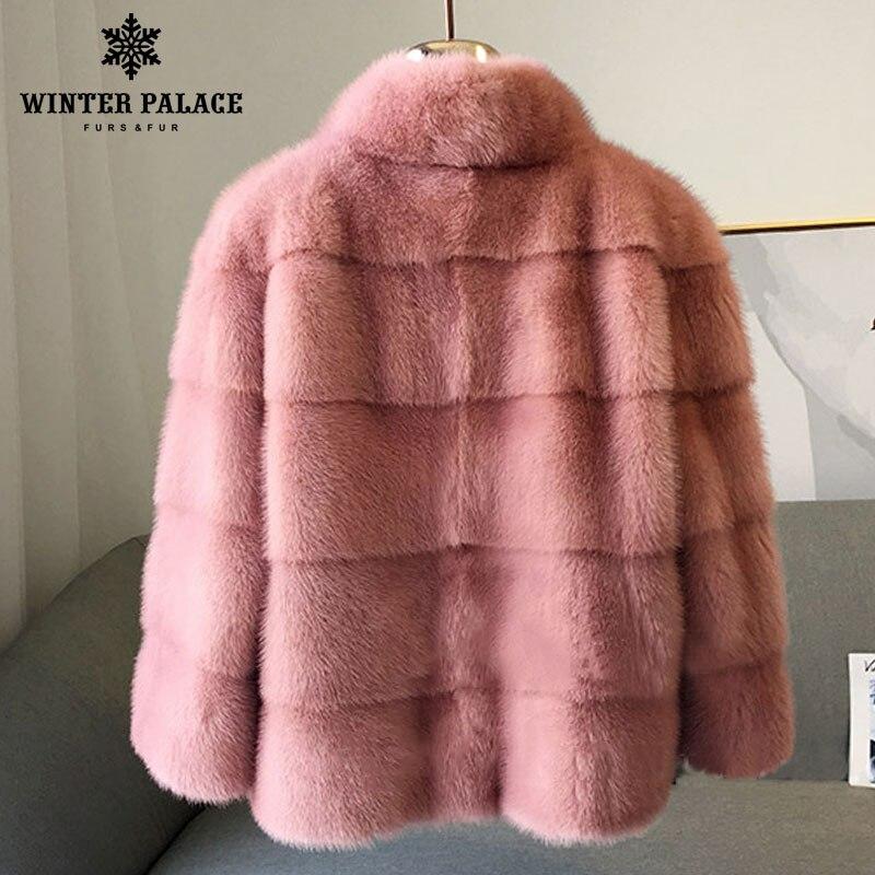 De Montant Black Fourrure pink blue1 2018 beige Col Cm white Style Manteau gray Qualité Naturel Hiver Manteaux 60 Mode Mince Mlnk Nouveau Bonne Chat Long IH44qntBz