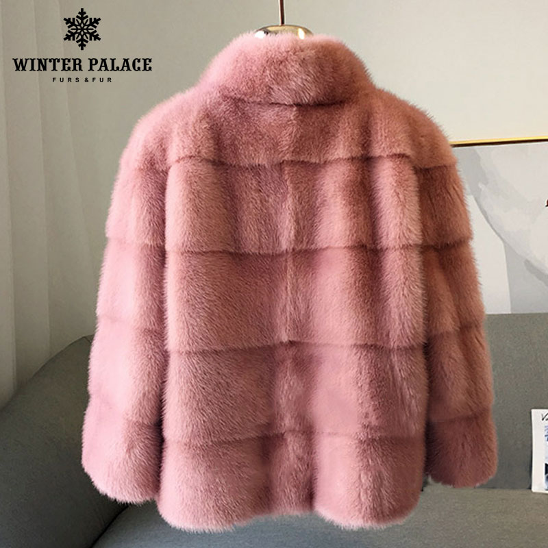 Image 2 - 2018 winter New style  fur cat natural mlnk stand Collar good quality mlnk fur coat 60 cm long coats of fur Fashion Slim Fur