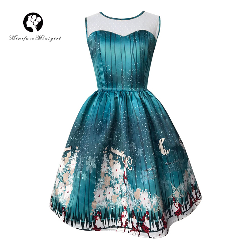 2018 New Vintage Christmas Dress Women Sleeveless Print A Line Dresses vestidos O Neck Long Santa Party Merry Christmas Dress