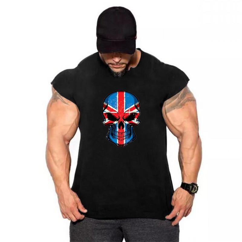 Bodybuilding men clothes 2018 summer gyms   tank     top   men gorilla street wear workout skull shirt tee shirt homme