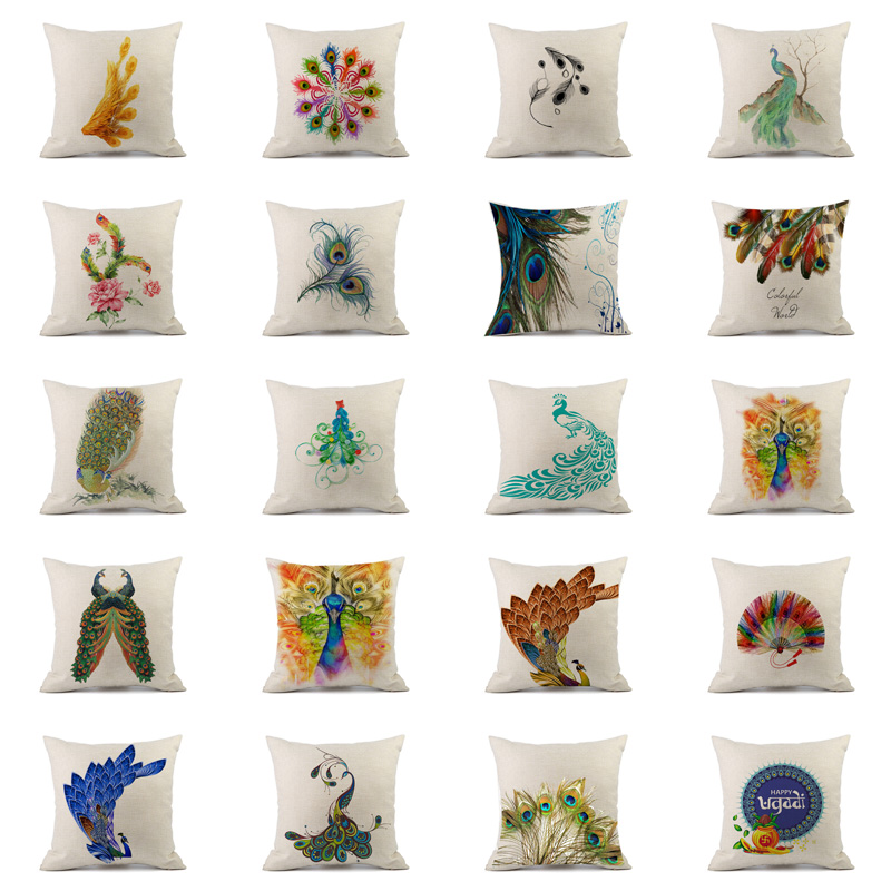 2018 Painted Chinese Style Cushion Cover Linen Cotton Beautiful Open Peacock Home Decorations Pillows Cover for Car Sofa