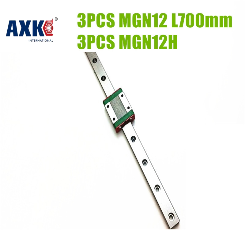 AXK 3pcs MR12 12mm Linear Rail Guide MGN12 Length 700mm With 3pcs Mini MGN12H Linear Carriage Miniature Linear Motion Guide Way axk mr12 miniature linear guide mgn12 long 400mm with a mgn12h length block for cnc parts free shipping