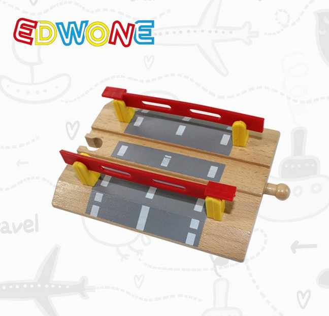 EDWONE -Railroad Crossing Intersection- Wooden Train Straight Track Railway Accessories For ThomaS Brio