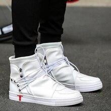 Новая мужская повседневная обувь Джастин Бибер ПУ кожа мужчины высокого верха Plein обувь модная дышащая обувь со шнуровкой хип-хоп обувь для мужчин черный, белый цвет