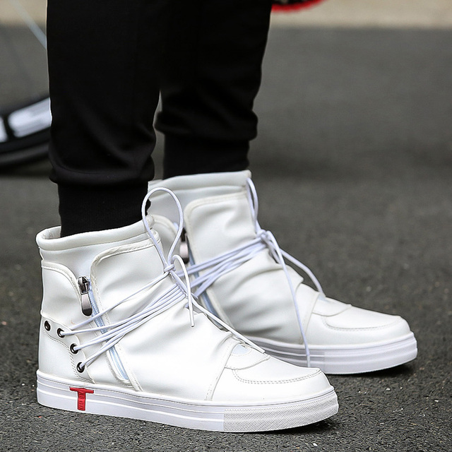 New Men Casual Shoes Justin Bieber Pu Leather Men High Top Plein Shoes  Fashion Lace Up