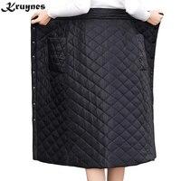 hot Down Cotton Skirt Women Winter Plus Size Button Pocket Slim Wrap Skirt Long Thick Warm High Waist Woman Skirts Elegant