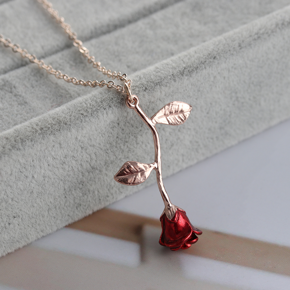 Delicate Handmade Alloy Red Rose Flower Pendant Necklace Beauty Gold Silver Plated Charm Valentine Gifts Women Fashion Jewelry