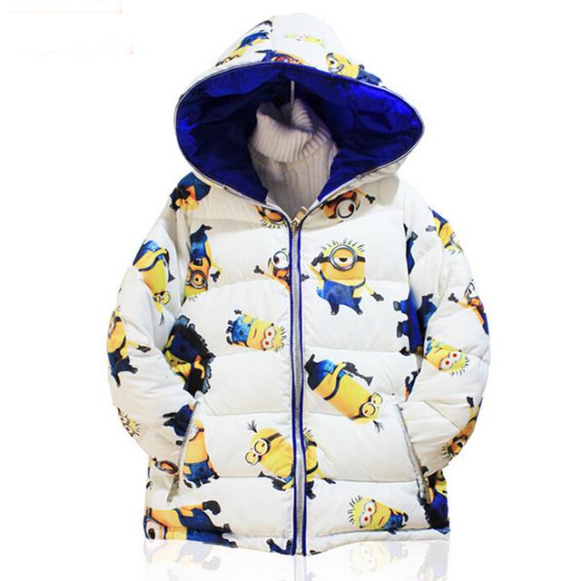 Nuevo estilo minion niños y niñas otoño chaqueta de la ropa de los bebés con capucha parkas Niños abrigos abrigos YLF06