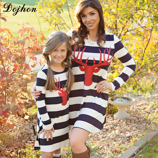 9284a9a724 Spring Family Matching Outfits Moose Print Striped Mother & kids Girl Boys Shirts  Clothes Mom and Daughter Family Look Clothing