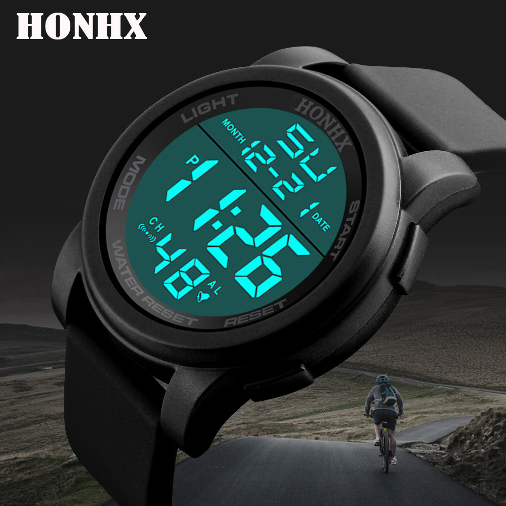 Watches Mens Fashion Waterproof Men's Boy LCD Digital Stopwatch Date Rubber Sport Wrist Watch Waterproof Relogio Clock Reloj Q7