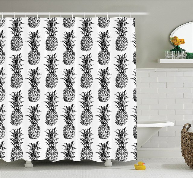 Memory Home Pineapple Shower Curtain Vintage Style Fruit Pattern Bathroom Accessories Black Gray White