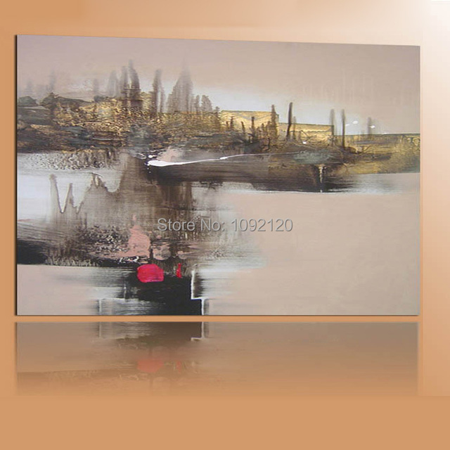 Us 14 79 49 Off Modern Wall Paintings Hand Painted Abstract Village Rivers Scenery Landscape Canvas Oil Painting For Home Decor In Painting