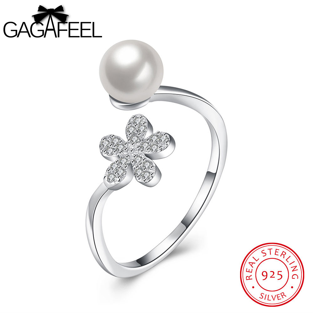GAGAFEEL 925 Sterling Silver Daisy Flowers Simulated Pearl Fs