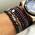 925 de Prata Charme Bangle & Bracelet Multistyle pulseira Lapis Lazuli Naturais contas de pedra Ágata Pulseira Para Homem Mulher Pulseras
