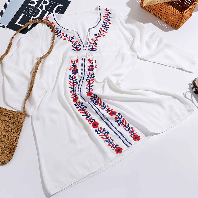 ZAFILLE Cotton Beach Cover Up Deep V Neck Women 39 s Swimming Suit Beach Tunic Long Sleeve Beach Dress Swimwear Women Pareo in Cover Ups from Sports amp Entertainment