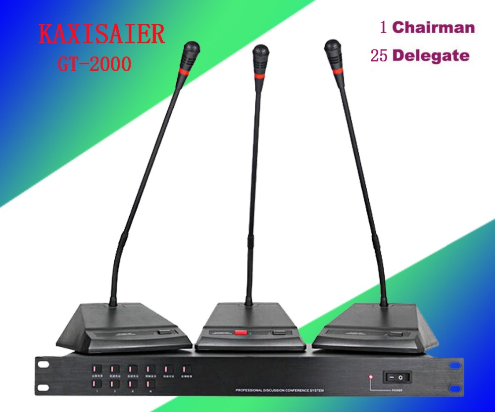 KAXISAIER GT-2000 1 Chairman 25 Delegate Table Mic Unit Digital Conference Meeting Microphone System delegate