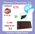 Venda quente, Fácil Sistema de Chamada de Paginação Do Sistema Com 1 pcs Visor do Receptor Sem Fio + 20 Sino de Mesa DHL Livre grátis