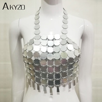 AKYZO 2017 Metal Acrylic Fringe Chain Camis Backless Bralette Tank Tops Summer Women Sexy Fish Scales