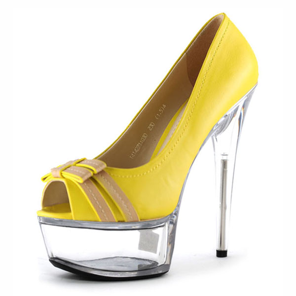 ФОТО New Arrival 15cm Ultra High Heels Platform Shallow Mouth Shoes Yellow Crystal High-Heeled Shoe Gorgeous High Heels