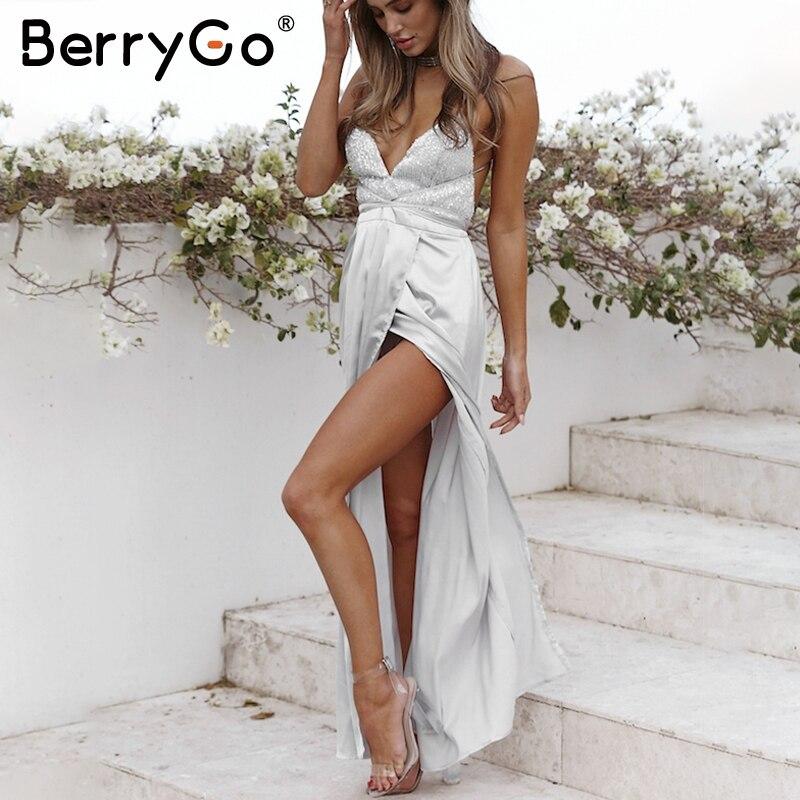 BerryGo Сексуальное вечернее, макси летнее платье женское с блестками на завязке с открытой спиной длинное платье 2019 весеннее атласное нарядно...