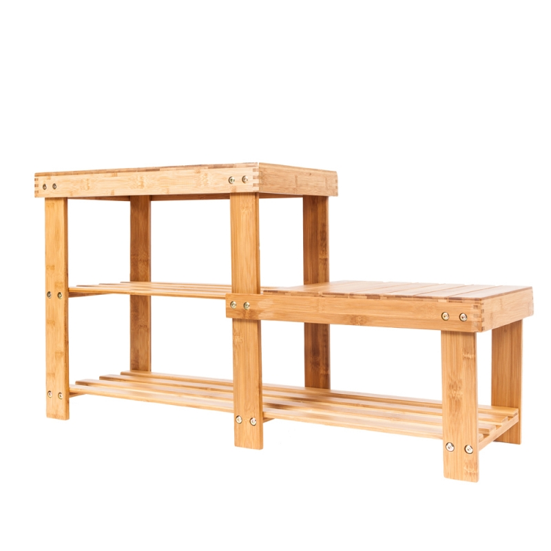 Portable High-low Shoes Stool with Storage Wood Color цены онлайн