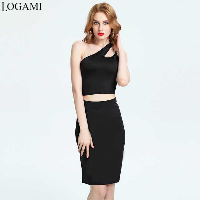 0955427b95e LOGAMI 2 Piece Set Women Top And Skirt Sleeveless Sexy Two Piece Women S  Sets Bodycon Skirt Party Club Wear